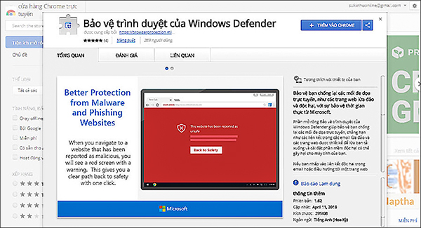 Bước thêm Windows Defender Browser Protection cho Chrome.